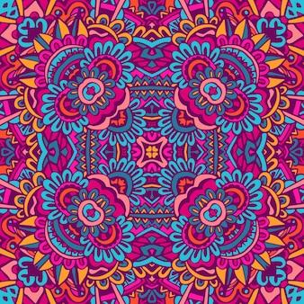 Conception ethnique ethnique indienne tribale sans couture. motif de mandala coloré festif. fleurs boho fantaisie mandala géométrique
