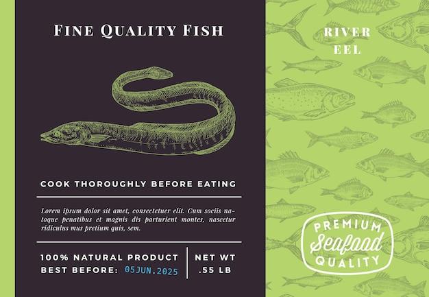 Conception ou étiquette d'emballage abstrait d'anguille de qualité supérieure