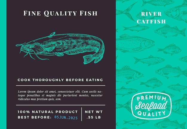Conception ou étiquette d'emballage abstrait de poisson-chat de qualité supérieure