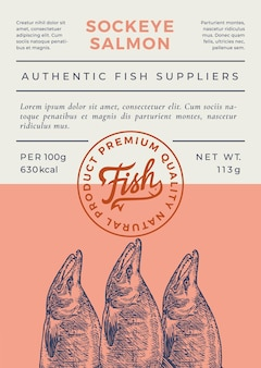 Conception ou étiquette d'emballage de vecteur abstrait de poisson de l'océan. bannière de typographie moderne, silhouette de saumon sockeye dessinés à la main avec le timbre du logo de lettrage. disposition de fond de papier de couleur. isolé.