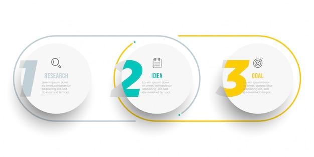 Conception d'étiquette infographique cercle avec des nombres. chronologie avec des icônes et 3 options, étapes ou processus.