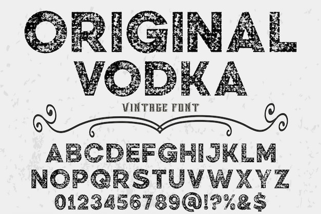 Conception de l'étiquette vintage alphabet vodka originale