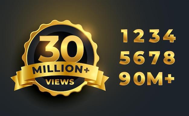 Conception d'étiquettes dorées de célébration de 30 millions ou 30 millions de vues