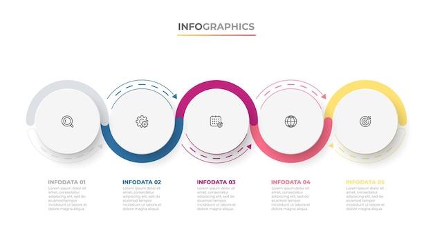 Conception d'étiquettes d'infographie de la chronologie avec des icônes de cercle et de marketing concept d'entreprise avec 5 options