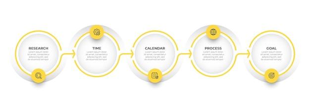 Conception d'étiquettes d'infographie vectorielle avec modèle de ligne mince concept d'entreprise avec 5 options ou étapes