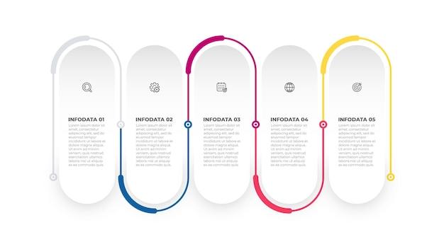 Conception d'étiquettes infographiques commerciales avec icônes marketing processus de chronologie avec 5 options ou étapes