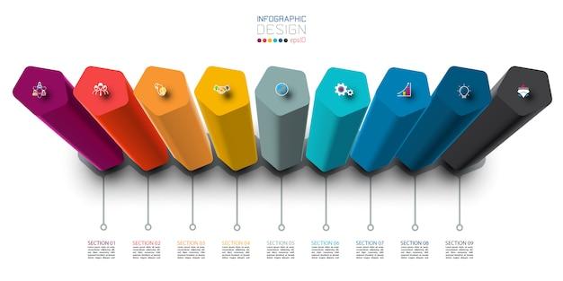 Conception d'étiquettes infographiques avec conception de colonnes pentagone.