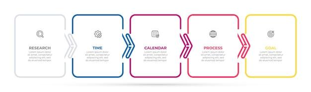 Conception d'étiquettes infographiques en ligne mince avec carré et flèches concept d'entreprise avec options en 5 étapes ou