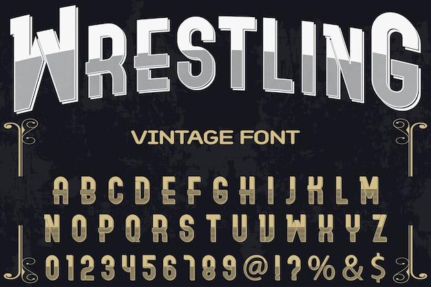 Conception d'étiquettes de lettrage vintage lutte