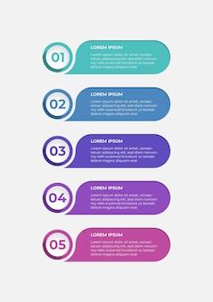 Conception d'étiquettes de présentation créative pour infographies en 5 étapes bannière d'option horizontale
