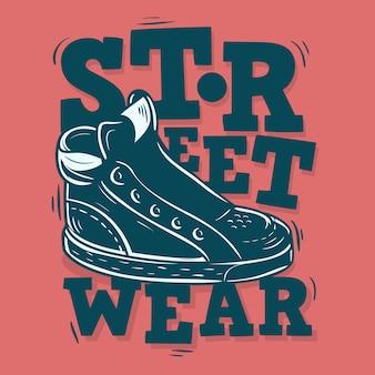 Conception d'étiquettes street wear avec une illustration de baskets.