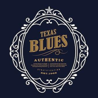 Conception d'étiquettes vintage texas blue