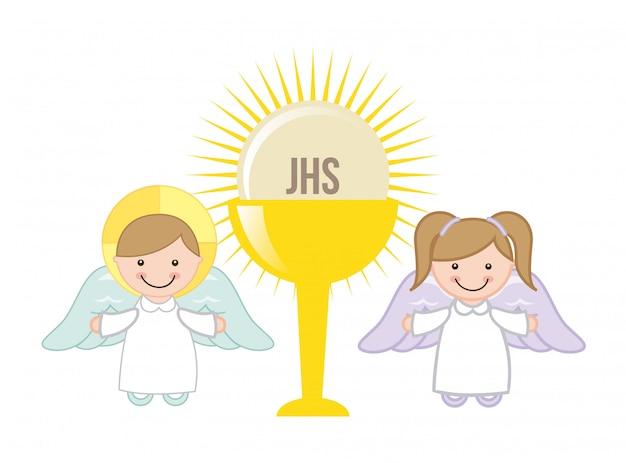 Conception de l'eucharistie au cours de l'illustration vectorielle fond blanc