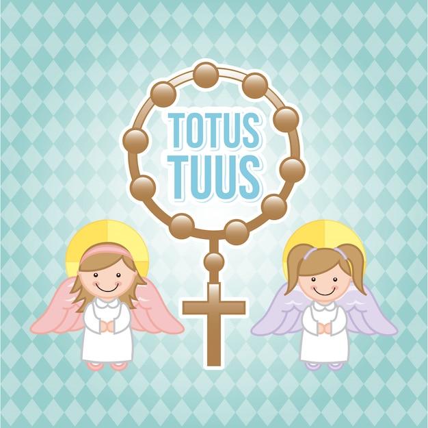 Conception de l'eucharistie au cours de l'illustration vectorielle fond bleu