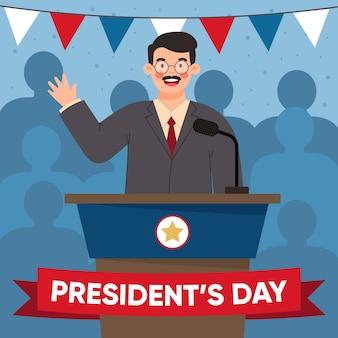 Conception d'événement de la journée des présidents plats