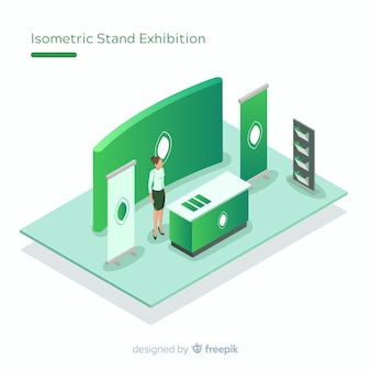 Conception d'exposition de stand isométrique créative