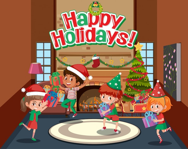 Conception d'expression pour de joyeuses fêtes avec des enfants ayant la fête de noël