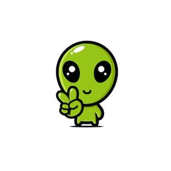 Conception extraterrestre mignonne avec des poses de main pacifiques
