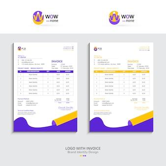 Conception de facture fraîche avec logo, image de marque
