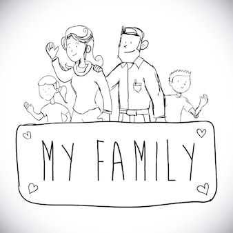 Conception de la famille au cours de l'illustration vectorielle fond blanc