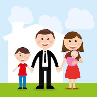 Conception de la famille au cours de l'illustration vectorielle fond ciel