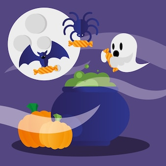 Conception de fantôme et de citrouilles de bol de sorcière halloween, thème effrayant