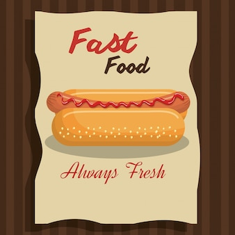 Conception de fast-food hot-dog isolée