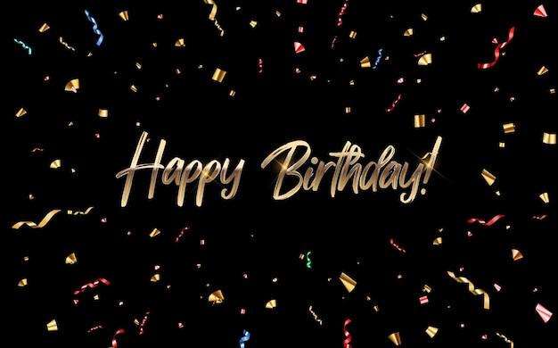 Conception de félicitations de joyeux anniversaire avec des confettis et ruban de paillettes brillantes