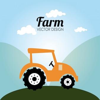 Conception de la ferme au cours de l'illustration vectorielle fond paysage
