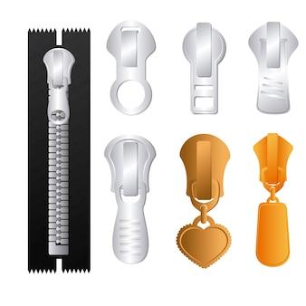 Conception de la fermeture à glissière sur fond blanc, illustration vectorielle.