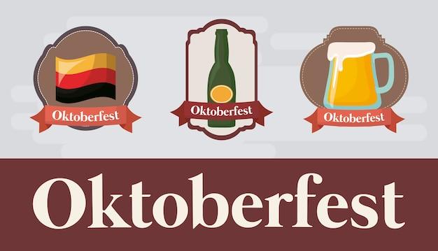Conception de festival oktoberfest avec icône illustration de vectot