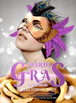 Conception de fête de carnaval de mardi gras avec modèle portant un masque