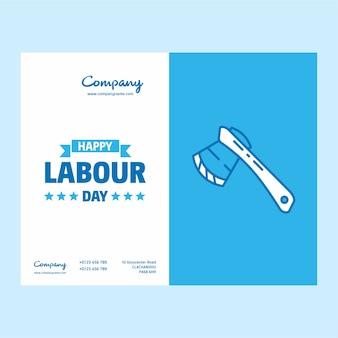 Conception de fête du travail heureux avec vecteur de thème blanc et bleu
