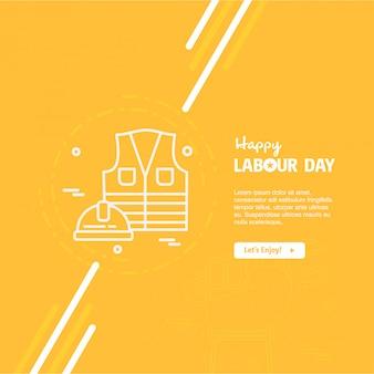 Conception de fête du travail heureux avec vecteur de thème jaune