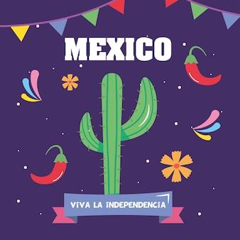 Conception de la fête de l'indépendance du mexique avec cactus