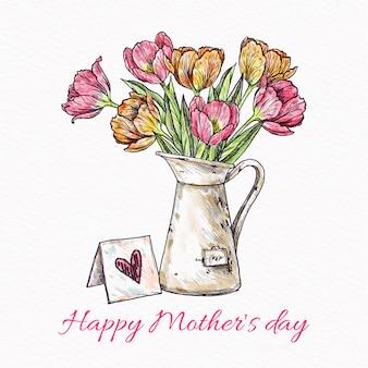 Conception de fête des mères avec des fleurs