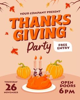 Conception de fête de thanksgiving plat