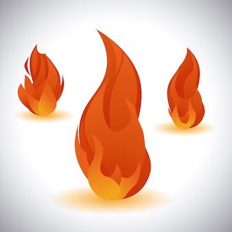 Conception de feu au cours de l'illustration vectorielle fond gris