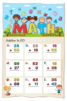 Conception de la feuille de calcul mathématique pour l'ajout à 100