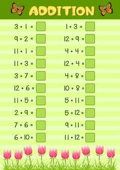 Conception de feuille de calcul mathématique pour ajout