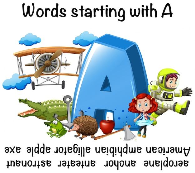 Conception de feuille de calcul pour les mots commençant par a