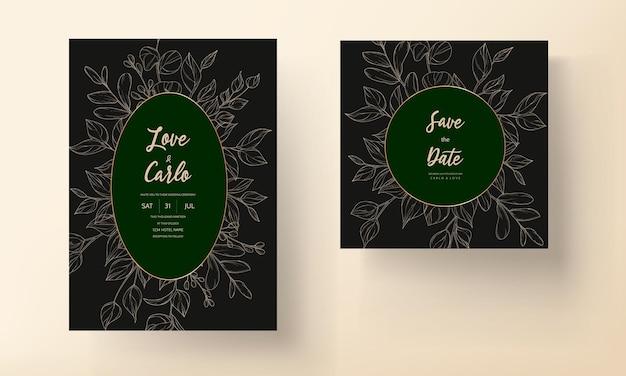 Conception de feuilles de carte d'invitation de mariage moderne