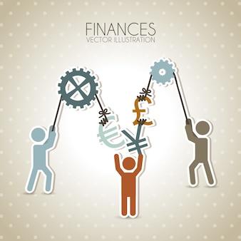 Conception de la finance au cours de l'illustration vectorielle fond pointillé