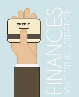 Conception de la finance sur l'illustration vectorielle fond bleu
