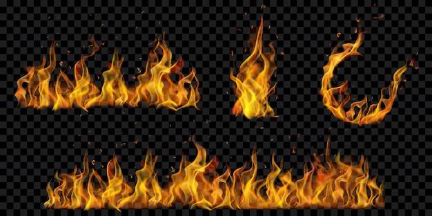 Conception de flammes et d'étincelles de feu sur fond noir translucide