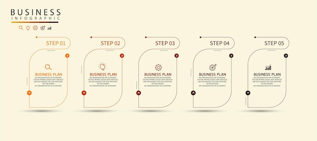Conception de flèches infographiques avec 5 options ou étapes infographies pour les idées d'entreprise peut être utilisé pour la présentation, l'éducation, les bannières commerciales.