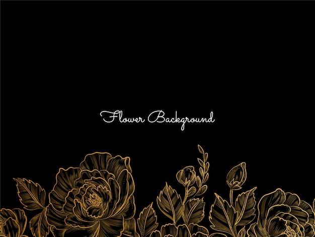 Conception de fleur dessinée à la main dorée sur fond noir