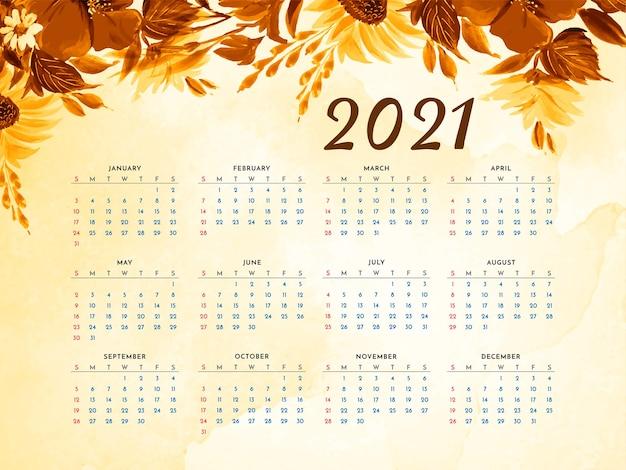 Conception de fleur élégante vecteur de calendrier 2021 ans
