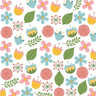 Conception de fleurs au cours de l'illustration vectorielle fond blanc