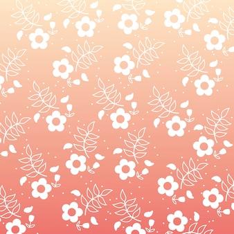 Conception de fleurs au cours de l'illustration vectorielle fond rose